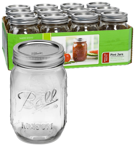 Jars - Regular Mouth Pint - Case of 12
