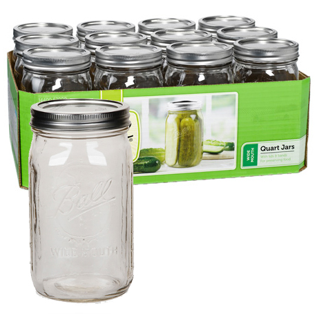 Jars - Wide Mouth Quart Jars - Case of 12