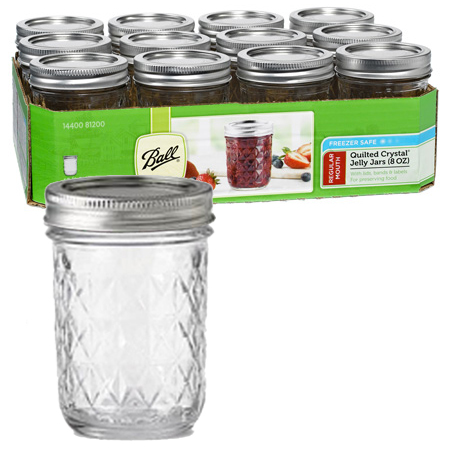 Jars - 8 oz. Quilted Crystal Jelly Jars - Case of 12