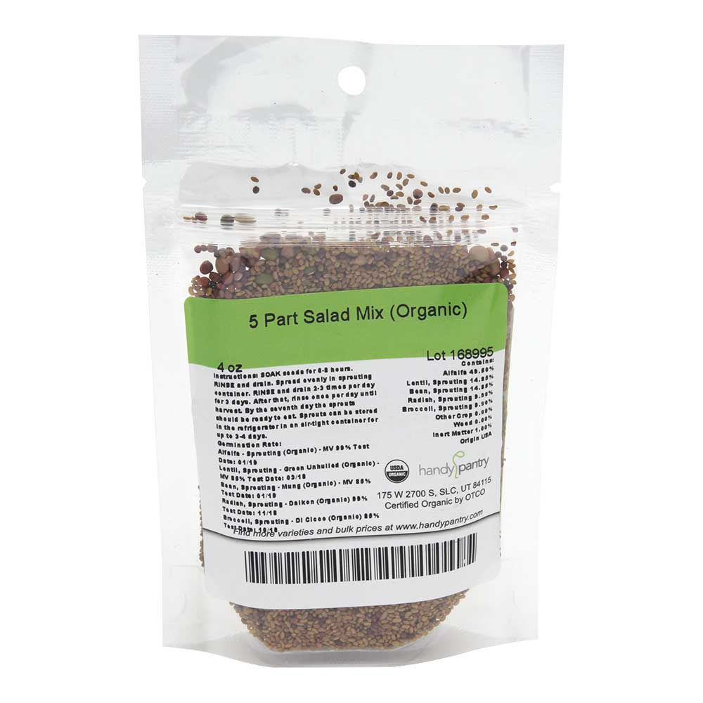 5 Part Salad Sprouting Seeds Mix - 4oz